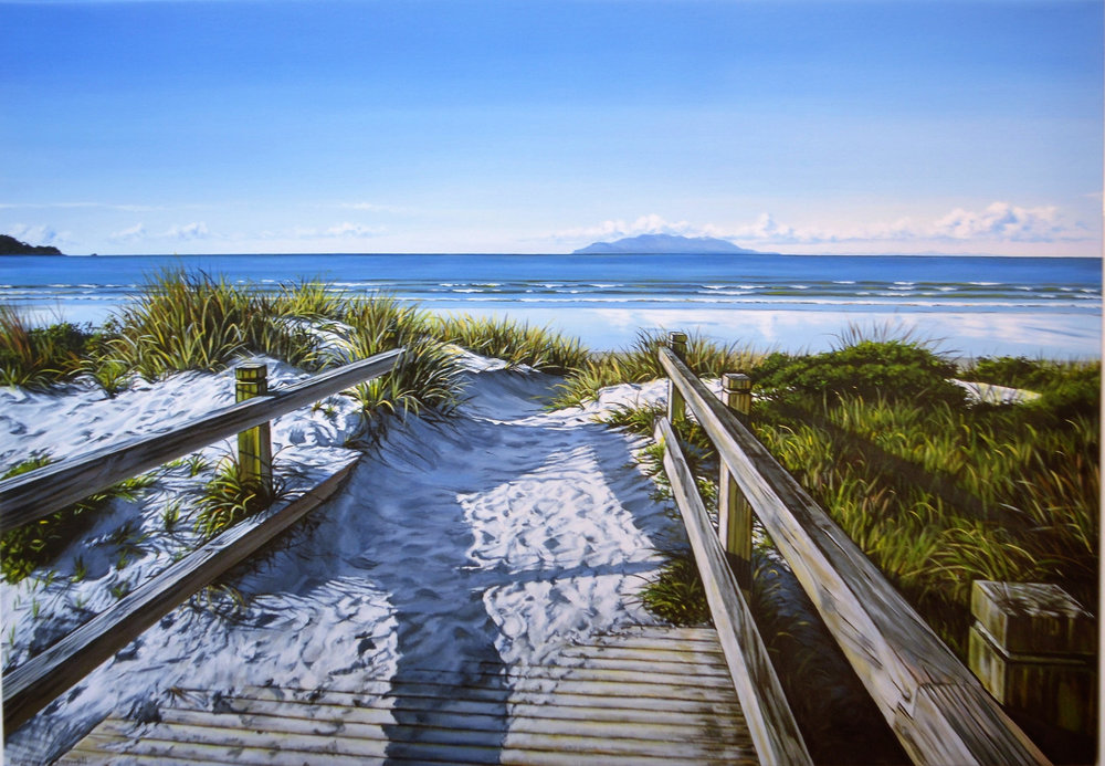 Along The Boardwalk  Shirley Cresswell, limited edition print on canvas, 1000mm x 750mm  $895.00