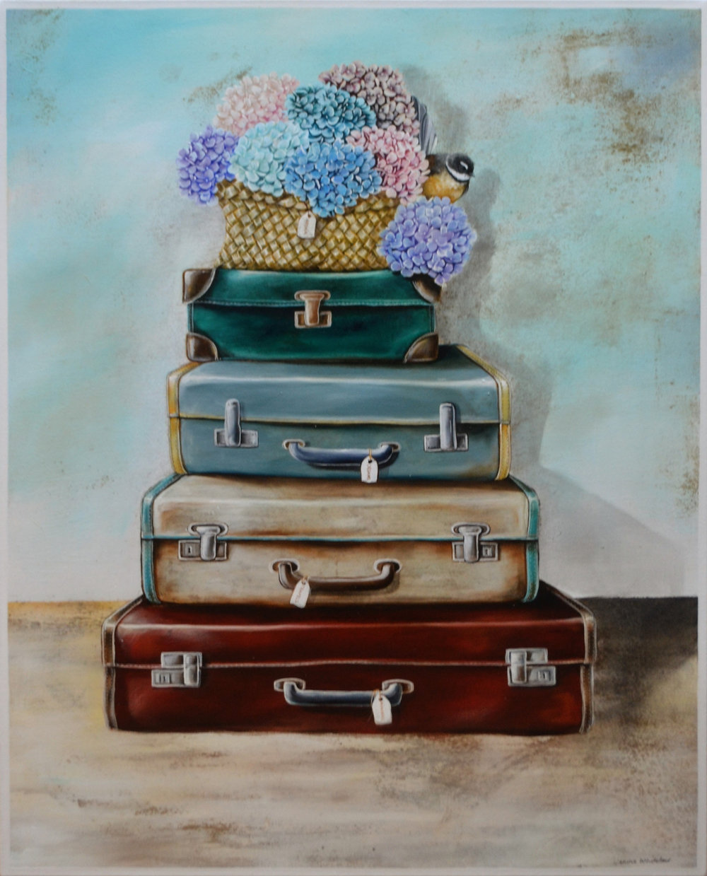 Four Suitcases, Treasured Memories Series  Janine Whitelaw, acrylic on canvas, 1000mm x 800mm  $1,990.00