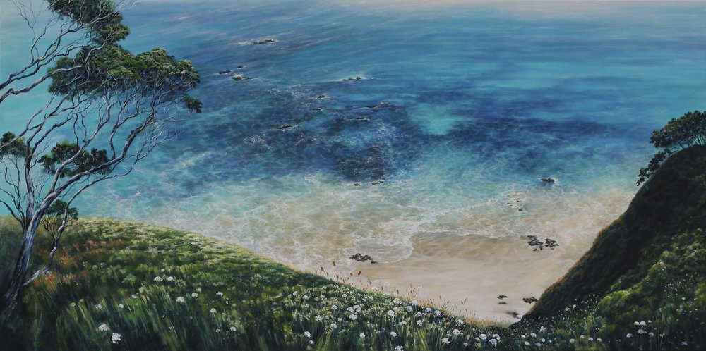 Motutara Headland, Whananaki  Sonia Fraser, oil on canvas, 1520mm x 760mm  $3,650.00