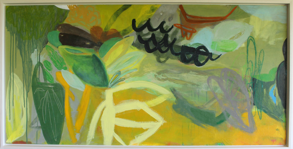 Offerings From The Forest  Deborah Moss, mixed media on board, classic Italian mold frame, 640mm x 1240mm  $3,200.00