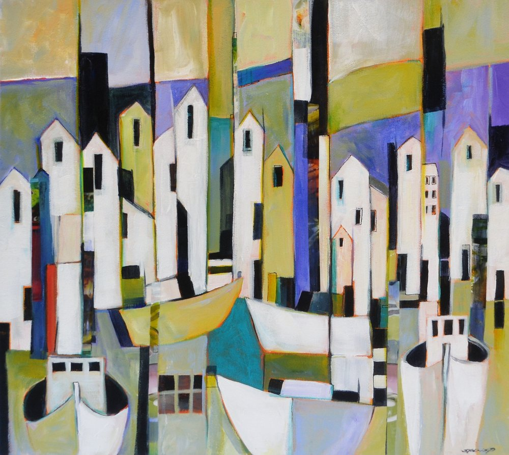 Yellow Fishing Boat  Stephanie Crisp, acrylic on canvas block, 505mm x 505mm  sold
