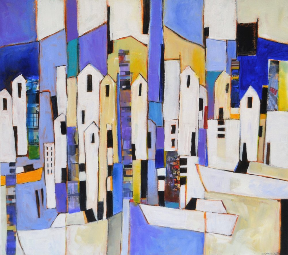 Boats Docking  Stephanie Crisp, acrylic on canvas block, 505mm x 505mm  $990.00
