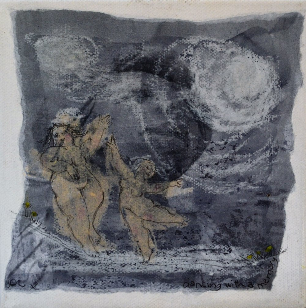 Dancing with a Memory - By the Light of the Moon Series  Di Conway, mixed media on canvas, sealed, 150mm x 150mm  $55.00