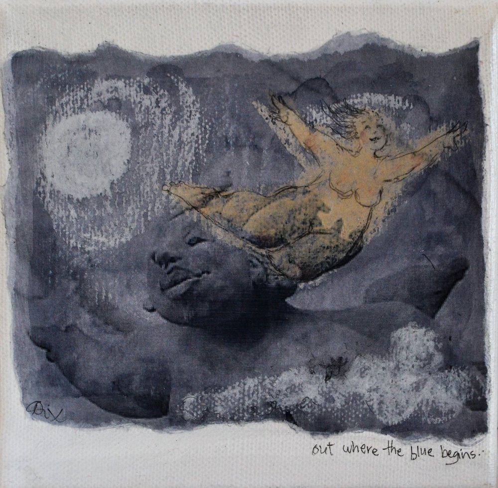 Out Where the Blue Begins - By the Light of the Moon Series  Di Conway, mixed media on canvas, sealed, 150mm x 150mm  $55.00