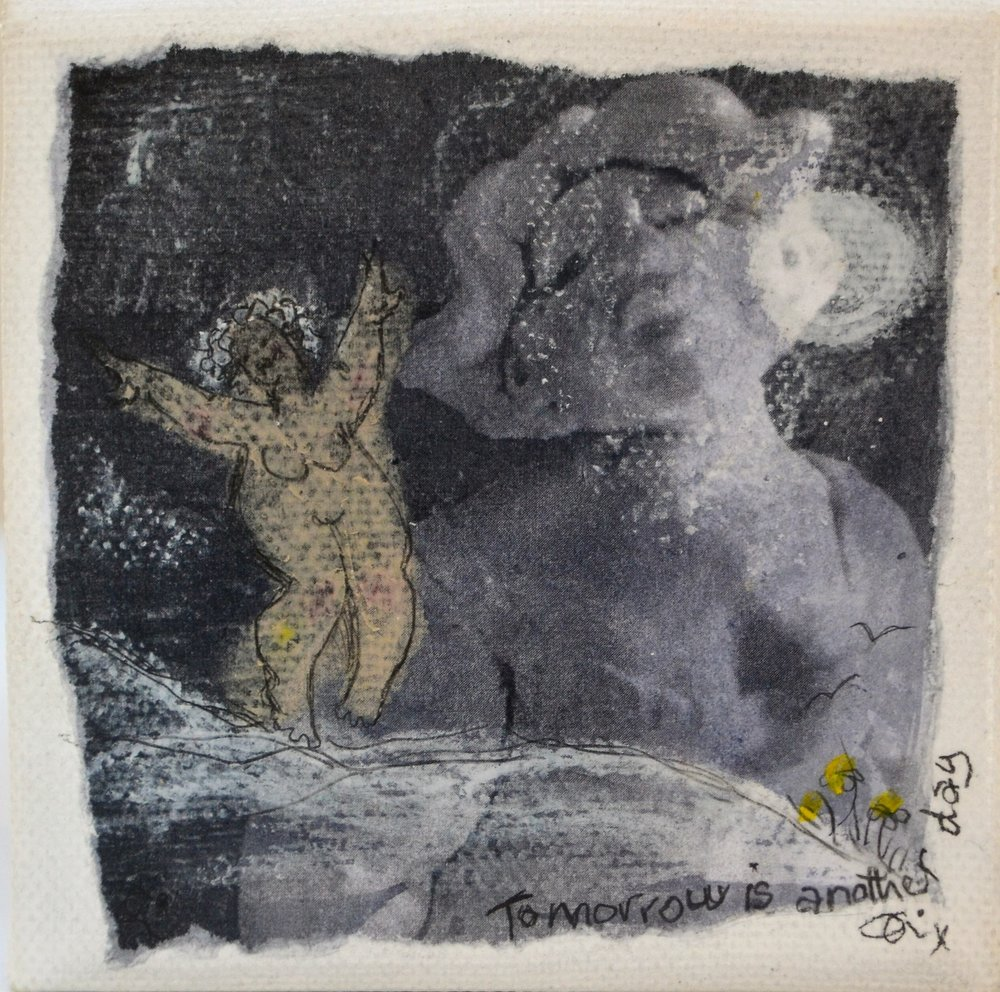 Tomorrow is Another Day - By the Light of the Moon Series  Di Conway, mixed media on canvas, sealed, 100mm x 100mm  sold