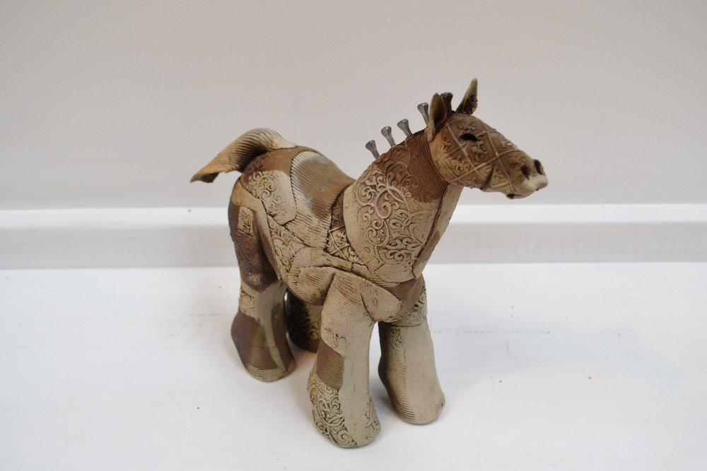 Small Horse  Fiona Tunnicliffe, hand formed ceramic sculpture, 250mm height  $210.00