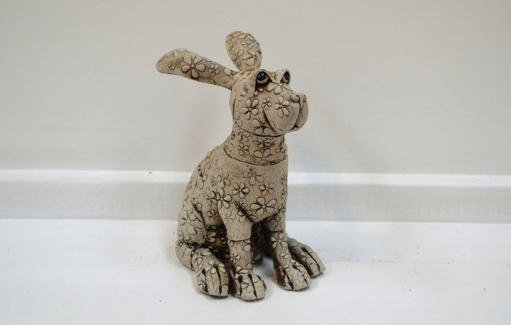 Small Flower Rabbit  Fiona Tunnicliffe, hand formed ceramic sculpture, 220mm height  sold