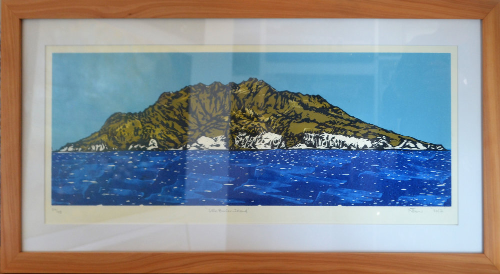 Little Barrier Island  Nicola Tucker, framed print, #46/75  $375.00