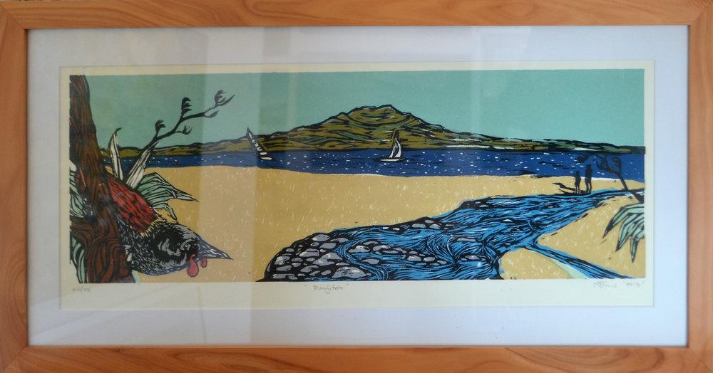 Rangitoto  Nicola Tucker, framed print, #27/55  $375.00