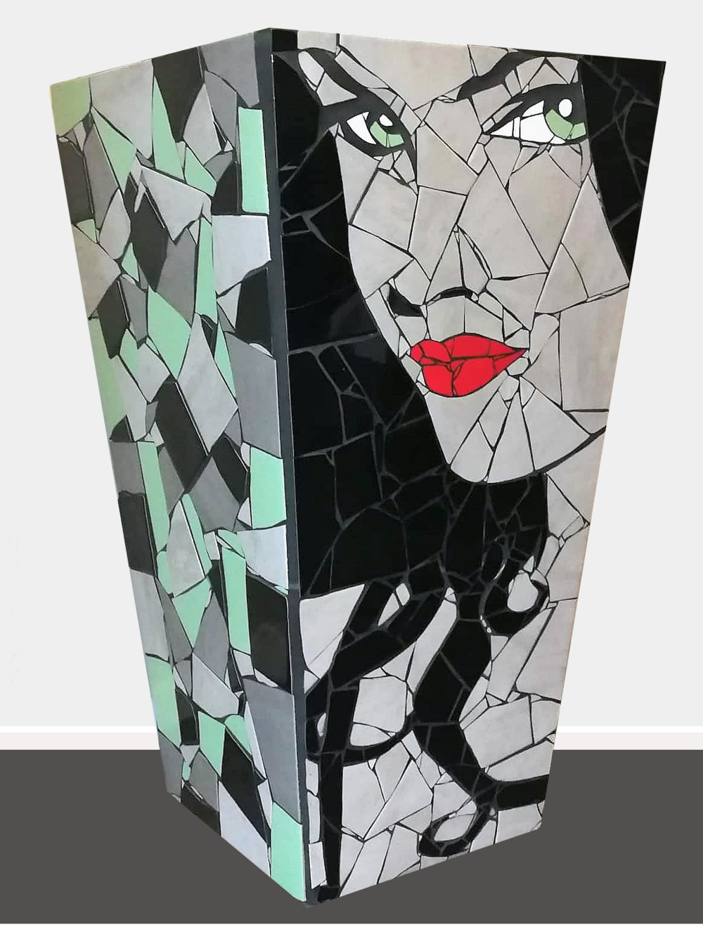 Esmarelda  Danielle Fernandez, pop art mosaic planter, indoor/outdoor (drainage hole at bottom), 815mm x 470mm. Esmarelda comes from 'Esmarelda Villa Lobos', the taxi driver in the movie 'Pulp Fiction'. She was a dark haired beauty with red lips and a gorgeous Spanish accent.   $5,900.00