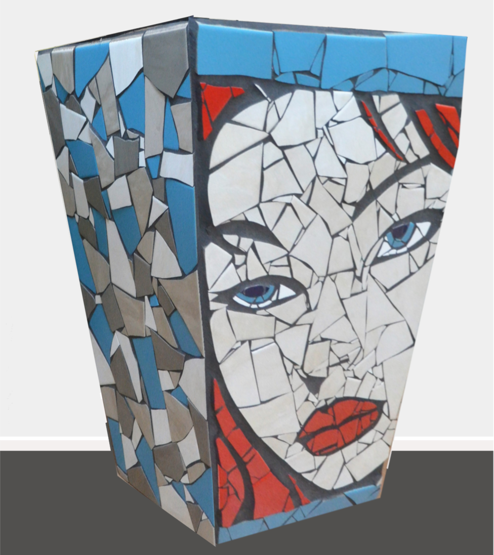 Bethany  Danielle Fernandez, pop art mosaic planter, indoor/outdoor (drainage hole at bottom), 630mm x 430mm. Bethany is modelled off of a friends daughter - more Irish inspiration.   $4,900.00