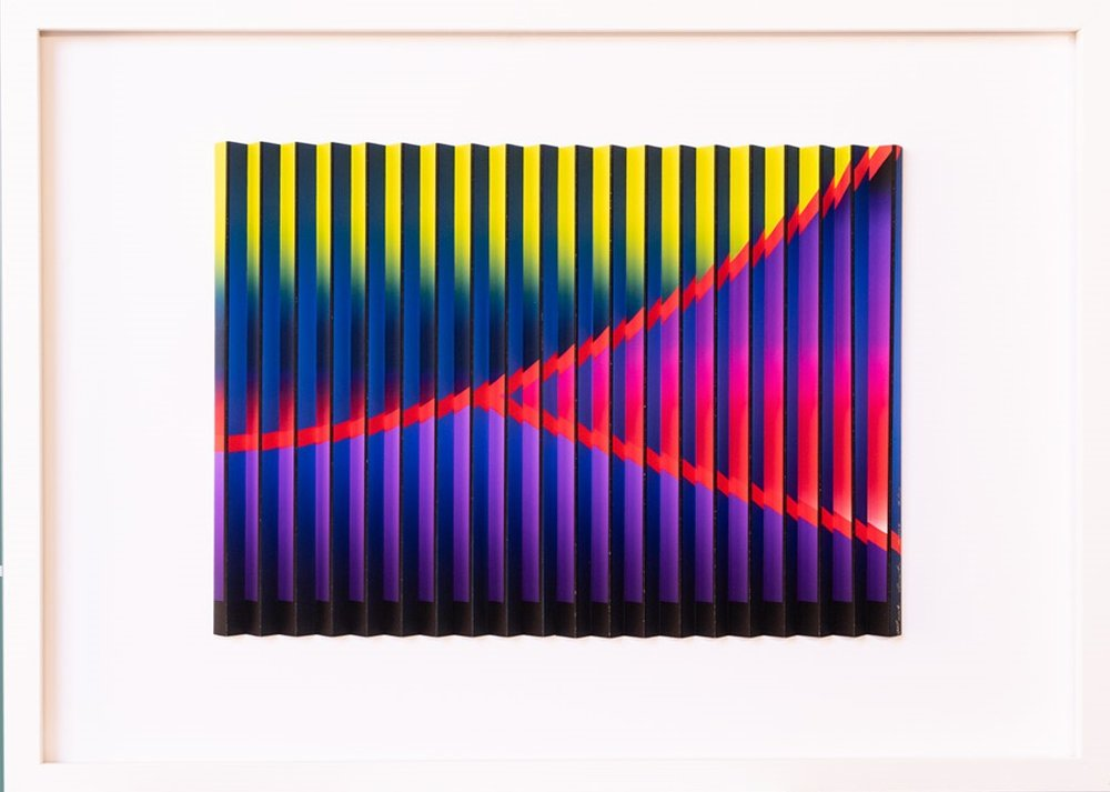 Red Stripe Series 1b (can dyptic with 1c)  Mark Cowden, limited edition multiplane, #4/10, 640mm x 490mm inc. frame   $790.00