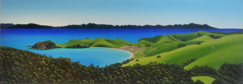 Barrier from Port Jackson  Donna Massey, oils on canvas, 1500mm x 500mm  sold