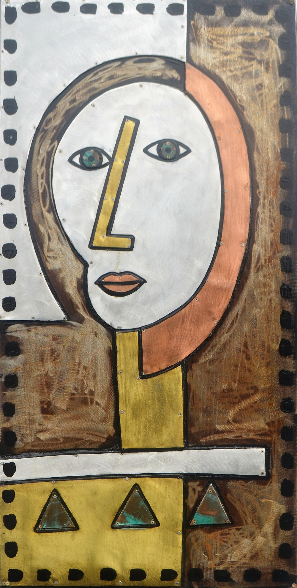 Lake Man  Mark Dimock, mixed medias on steel, hanging wall sculpture indoor/outdoor  $1,840.00