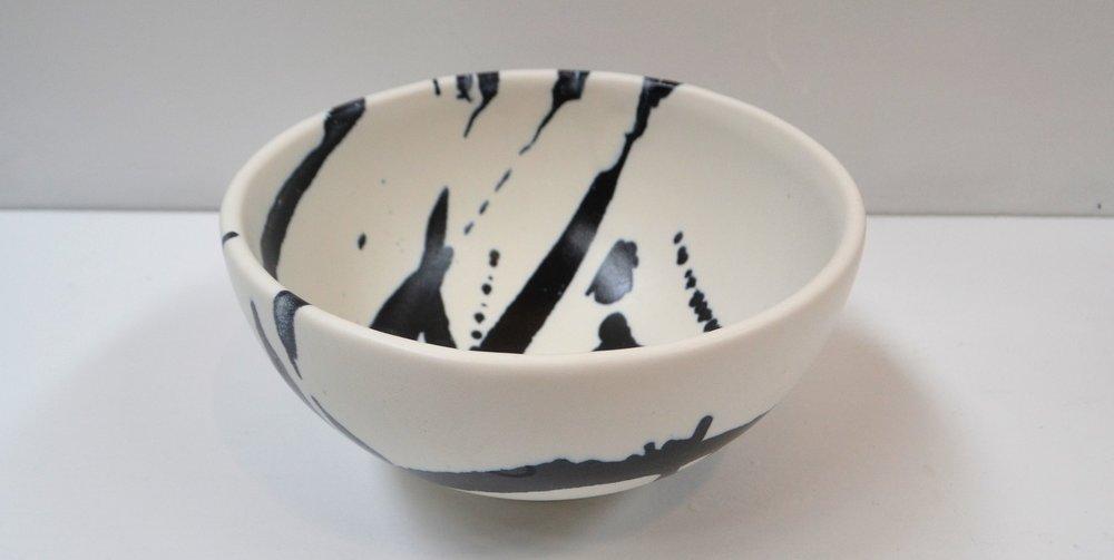 Medium Splash Bowl (2)  Wilma Jennings, glazed & fired ceramic, 225mm diameter  $180.00 ea