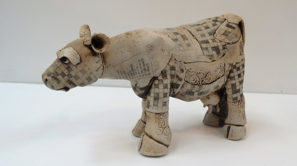 Printed Cow I  Fiona Tunnicliffe, hand formed ceramic sculpture, 205mm height  $310.00