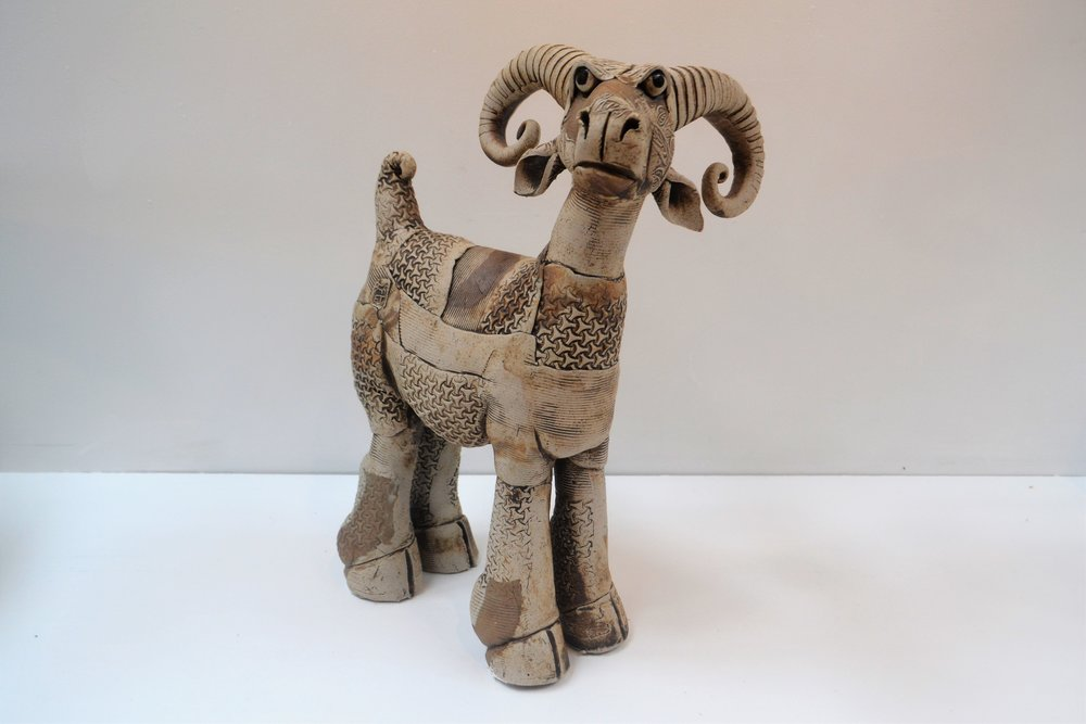 Goat  Fiona Tunnicliffe, hand formed ceramic sculpture, 380mm height  sold