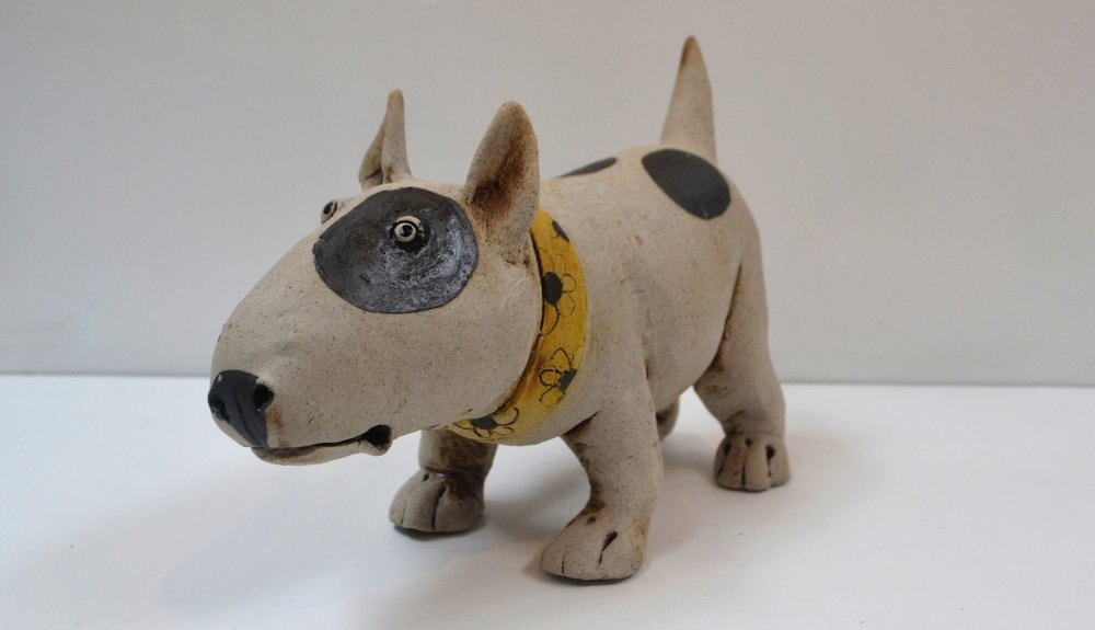 Bull Terrier I  Fiona Tunnicliffe, hand formed ceramic sculpture, 180mm height  sold