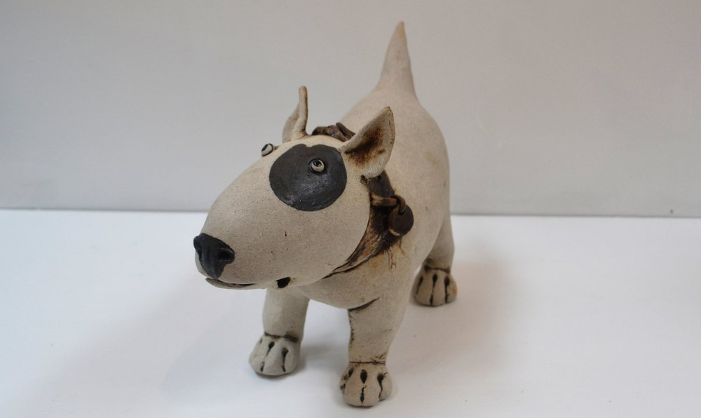 Bull Terrier II  Fiona Tunnicliffe, hand formed ceramic sculpture, 180mm height  sold