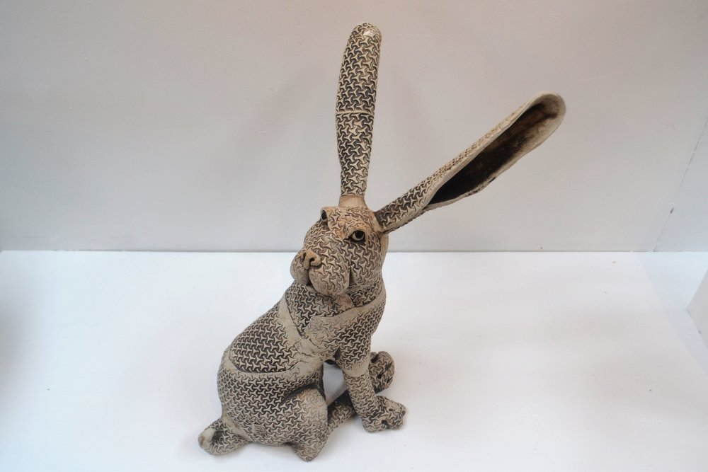 Large Printed Rabbit  Fiona Tunnicliffe, hand formed ceramic sculpture, 400mm height  sold