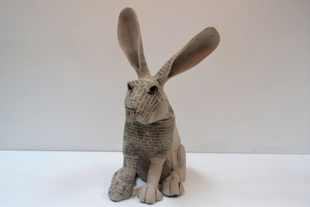 Small Recipe Rabbit II  Fiona Tunnicliffe, hand formed ceramic sculpture, 300mm height  sold
