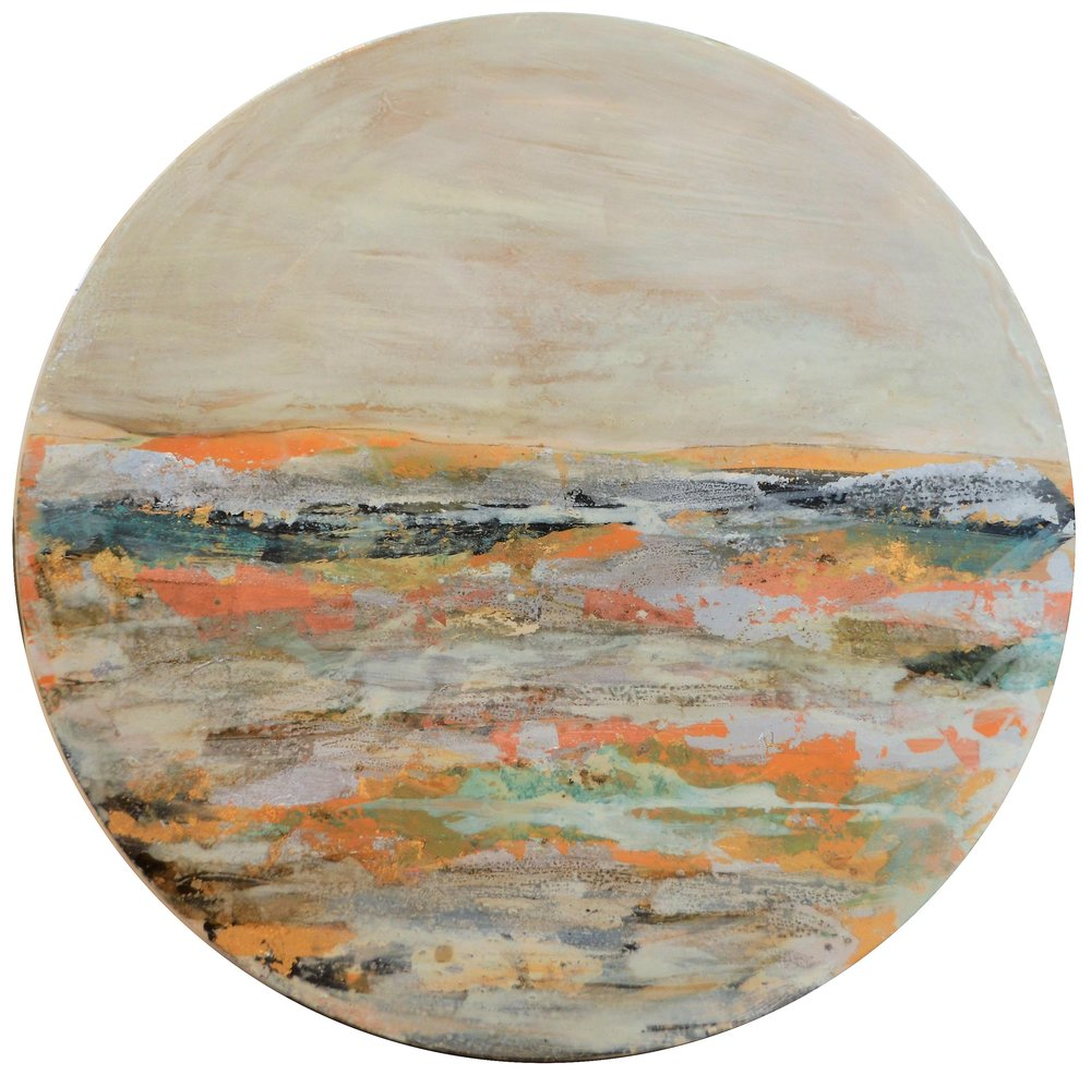 Element  Jody Hope-Gibbons, mixed media on board, 800mm diameter  $1,450.00