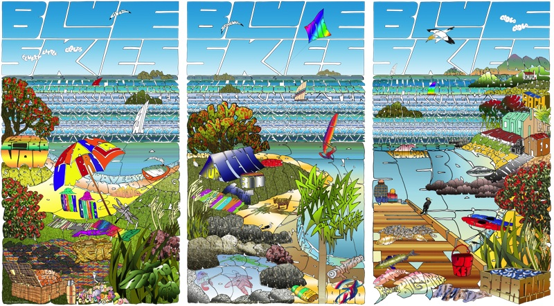 Lost For Words at the Beach  Cecilia Russell, word print  -  print on canvas, 960x570mm,  $485.00   -  print on paper, 320 x 450mm, tryptic,  $89.00