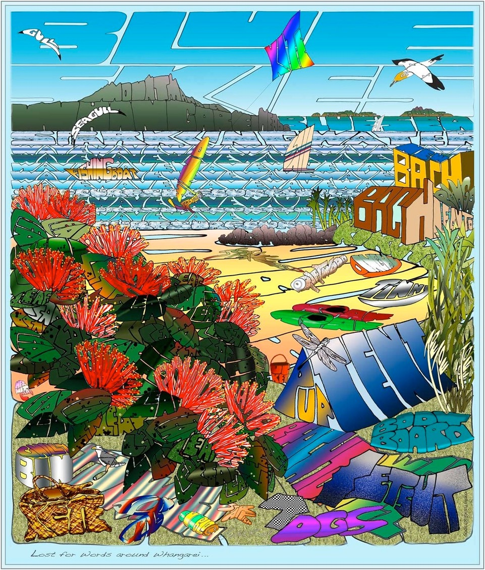 Lost For Words around Whangarei  Cecilia Russell, word print  -  print on canvas, 320 x 380mm,  $200.00   -  print on paper, 320 x 370mm,  $39.00
