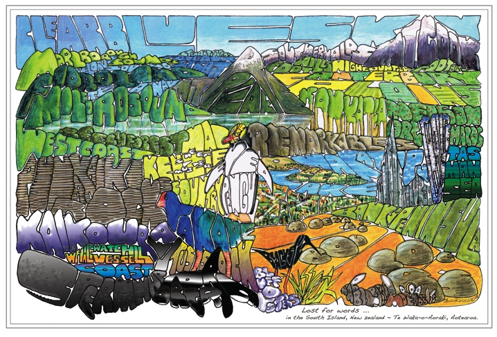 Lost For Words South Island  Cecilia Russell, word print.  -  print on canvas, 500 x 350mm,  $250.00   -  print on paper, 450 x 320mm,  $39.00
