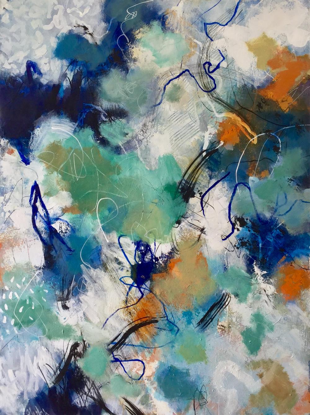 Shaken my Skin-Shape  Talulah Lautrec-Nunes, acrylic on canvas, 1020mm x 760mm  $1,800.00