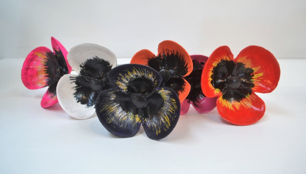 Small Poppies  Fay Clarke, painted clam shells fixed to metal rod  $15.00 ea or    enquire    for multiples
