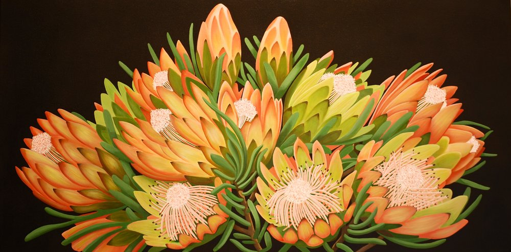 The Protea Patch  Nicolle Aston, acrylic on canvas, 1200mm x 600mm  $3,900.00