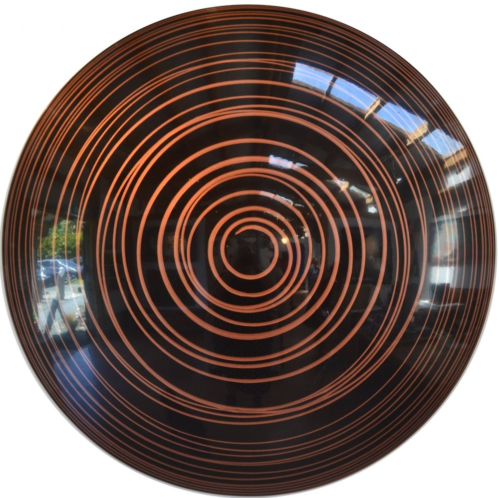 Copper Run  Charlie McKenzie, resin and powdered metal on a fiberglass orb, 1270mm round  Sold