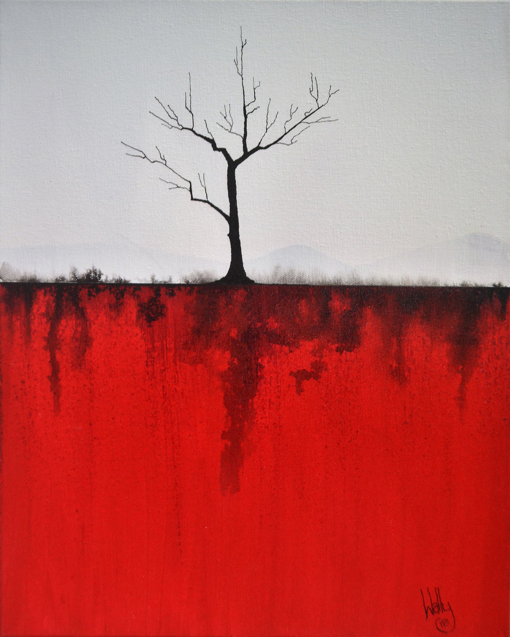 Barren Red 660 (click to expand)  Wally Pritchard, acrylic on canvas, 305mm x 410mm  $325.00
