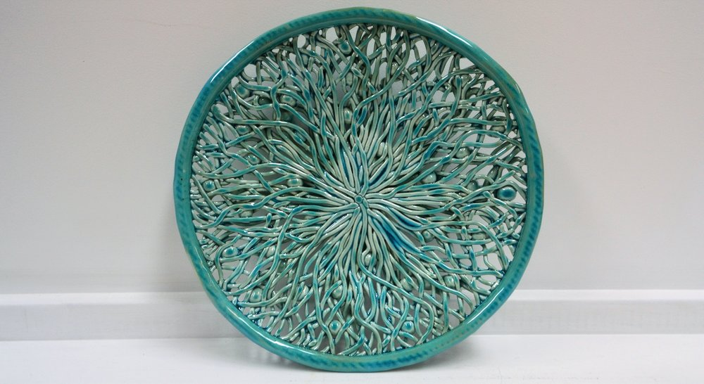 Aqua Dot Platter  Tom Sommerville, glazed and fired ceramic  $245.00