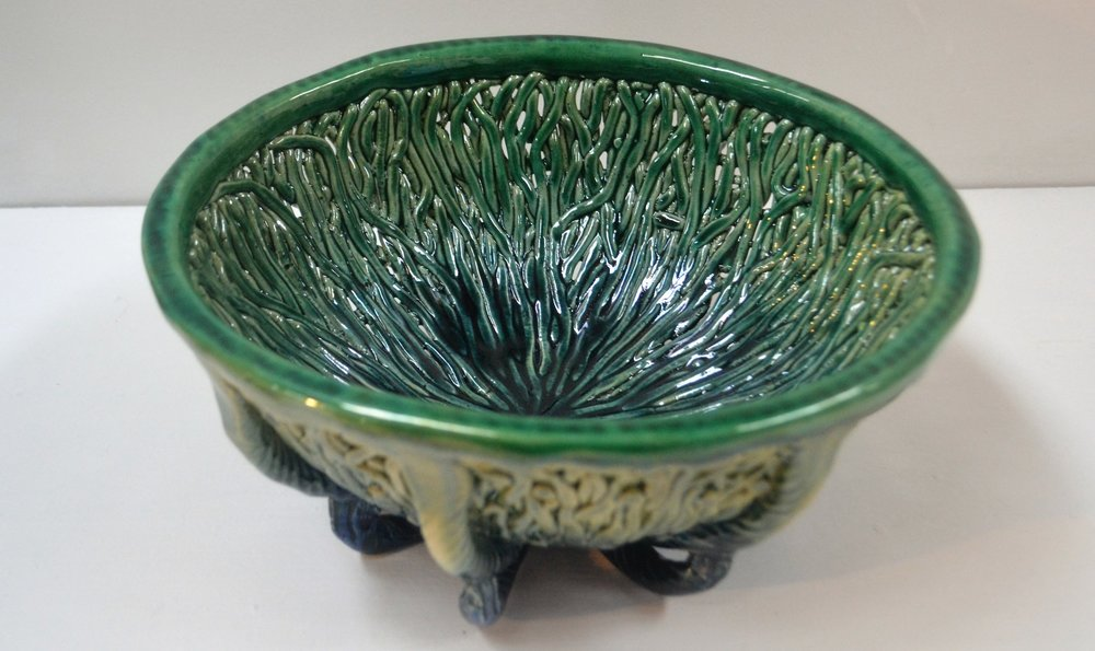 Sea Grass Bowl  Tom Somerville, glazed and fired ceramic, 255mm diameter  $230.00
