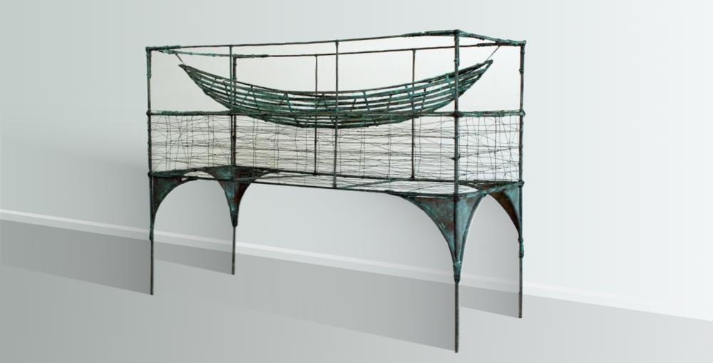 Display Case For A Future Journey  Rudy van der Pol. outdoor/indoor copper sculpture, 1860mm x 1250mm x 720mm  $9,400.00