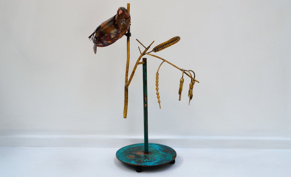 Tui on Stand  Mark Dimock, brass indoor sculpture  $2250.00