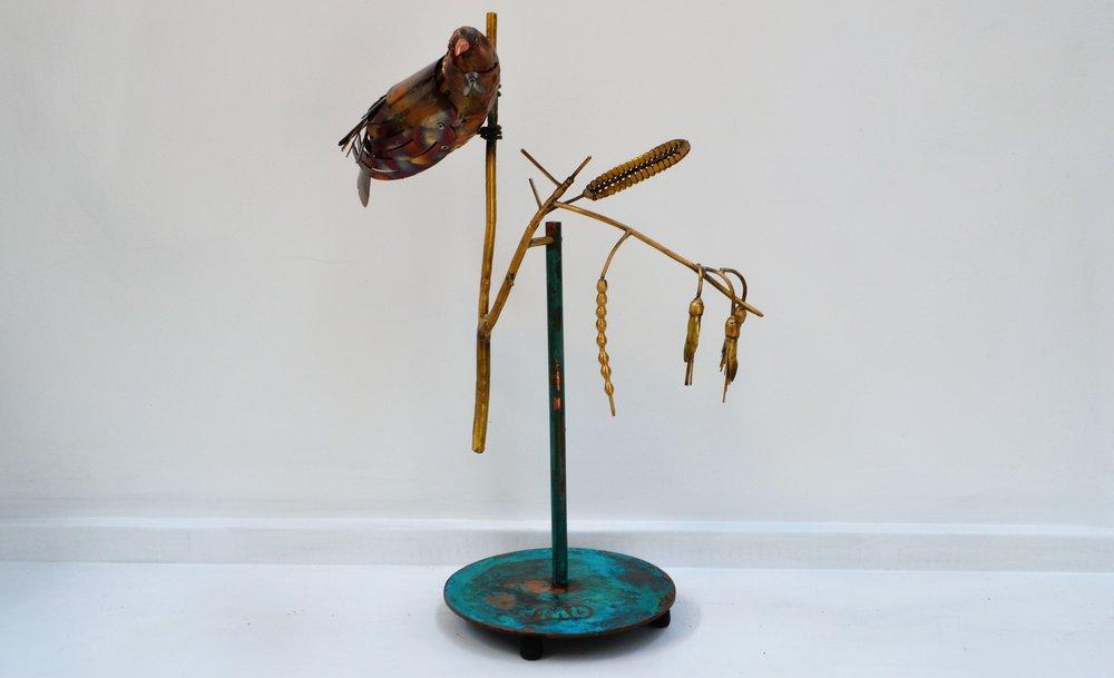 Brass Tui   Mark Dimock, brass indoor sculpture, 380mm x 570mm approx.  $2,250.00