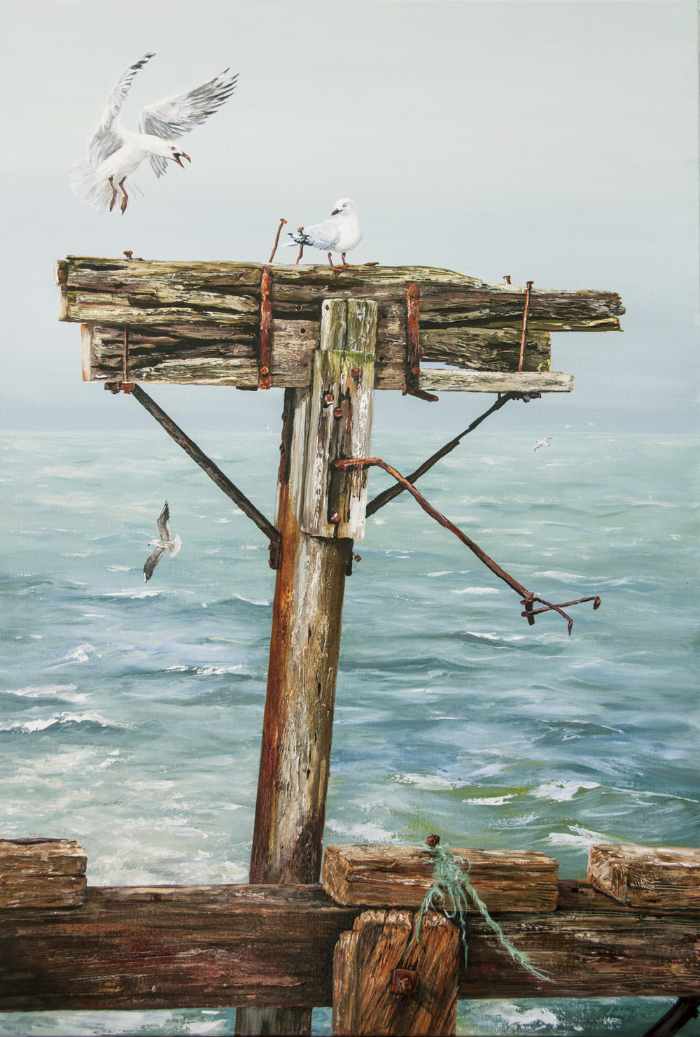 Aramoana  Libby McColl, oils on canvas, 765mm x 1220mm  sold