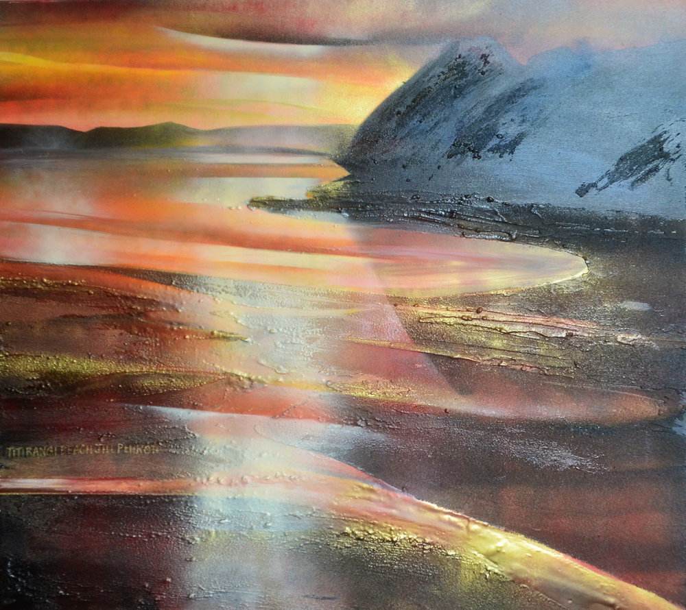 Titirangi Beach  Jill Perrott, mixed medias on canvas, 760mm x760mm  $1,900.00