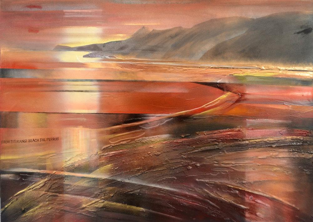 From Titirangi Beach  Jill Perrott, mixed medias on canvas, 1015mm x 760mm  $2,300.00