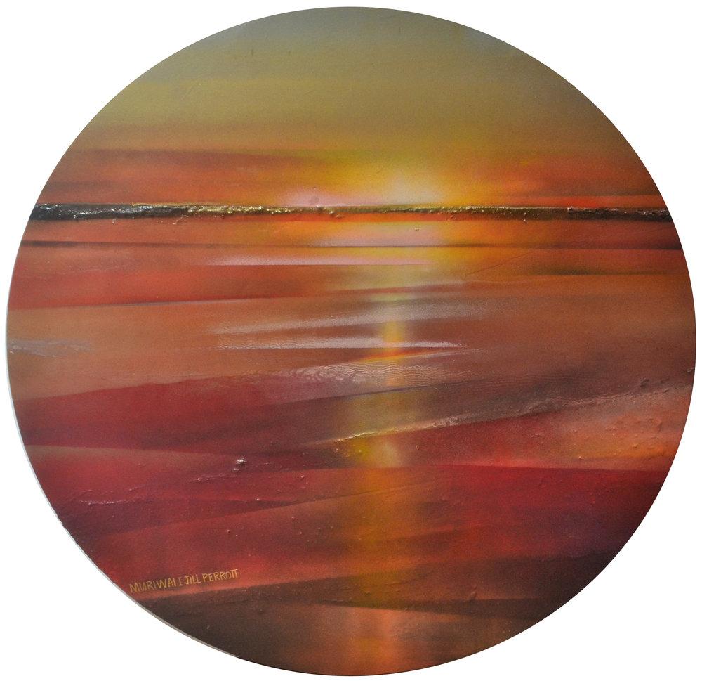Muriwai Rocks I  Jill Perrott, mixed medias on board, 705mm diameter  $750.00