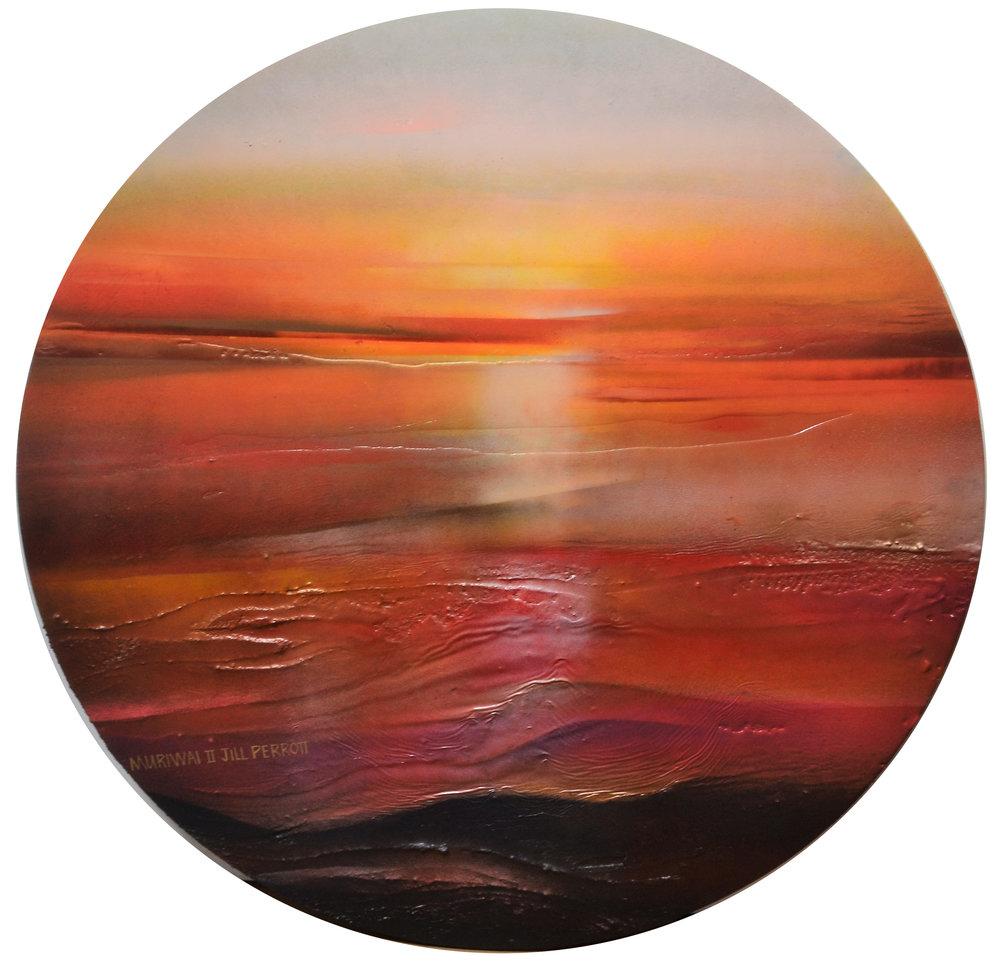 Muriwai Rocks II  Jill Perrott, mixed medias on board, 705mm diameter  $750.00