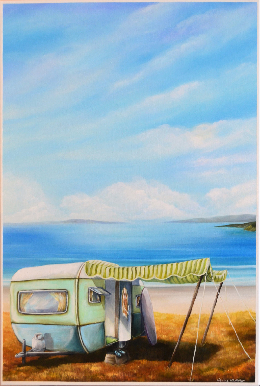 Portrait of a Surfboard, Retro Summer Series  Janine Whitelaw, acrylic on canvas, 645mm x 910mm  $1,600.00