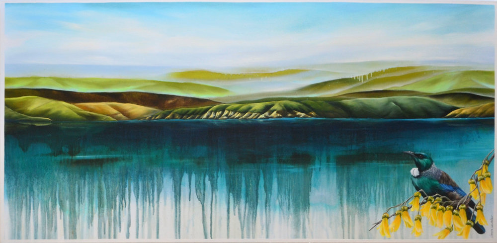 Tui's Solitude  Janine Whitelaw. acrylic on canvas, 1200mm x 600mm  $1,990.00