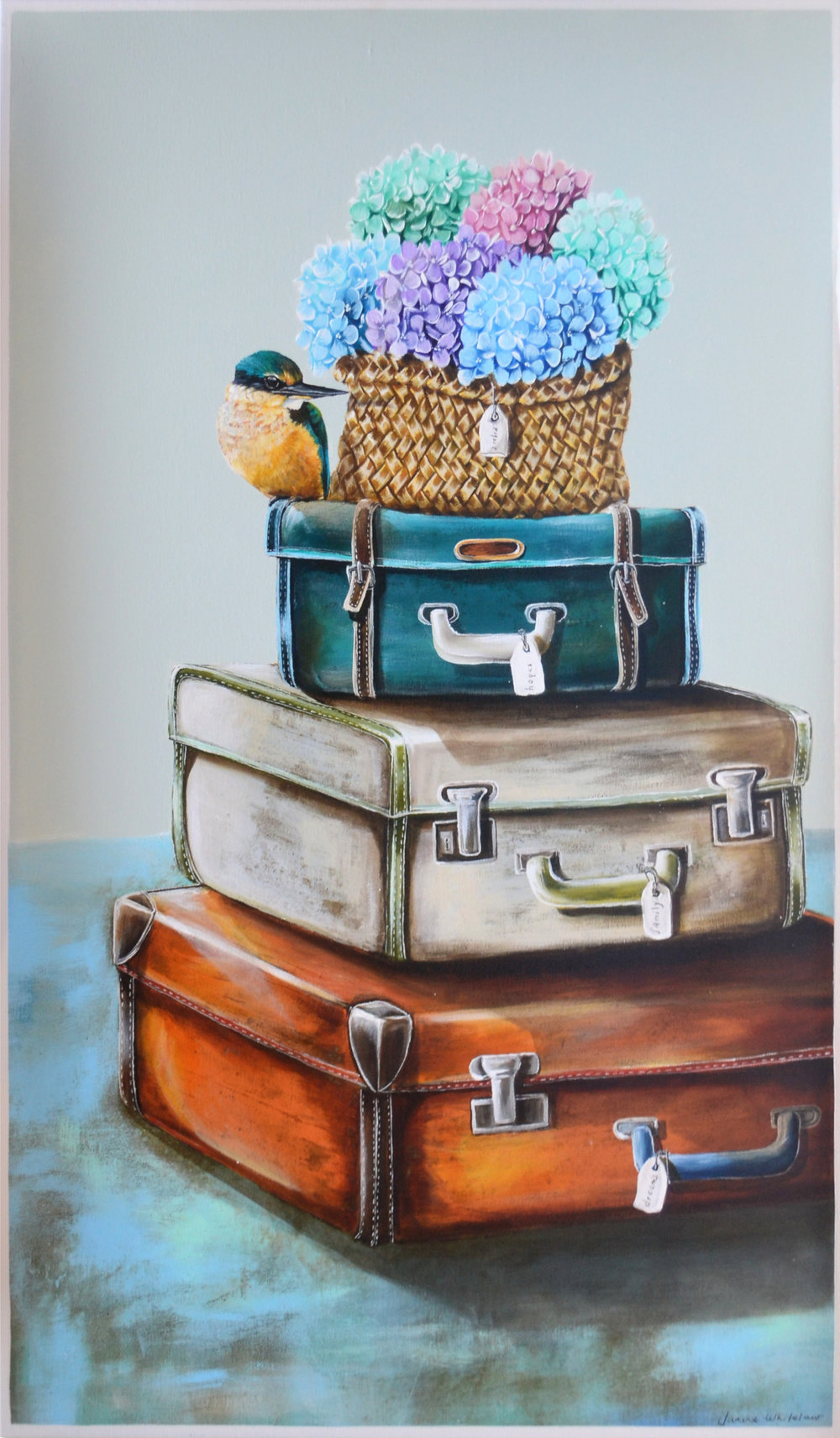 "Three Suitcases, Treasured Memories Series  Janine Whitelaw, acrylic on canvas, 900mm x 600mm""  $1,600.00"