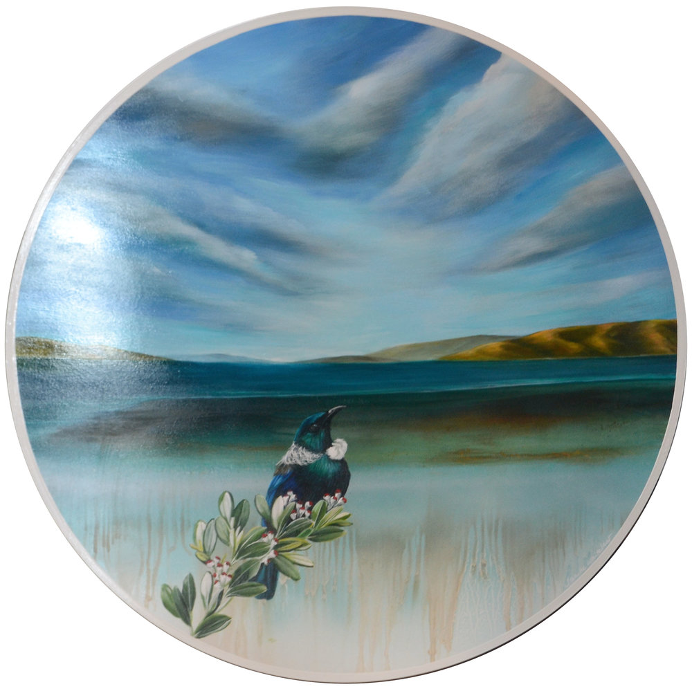 Tui Bay  Janine Whitelaw, acrylic on board, 700mm diameter  $1,390.00