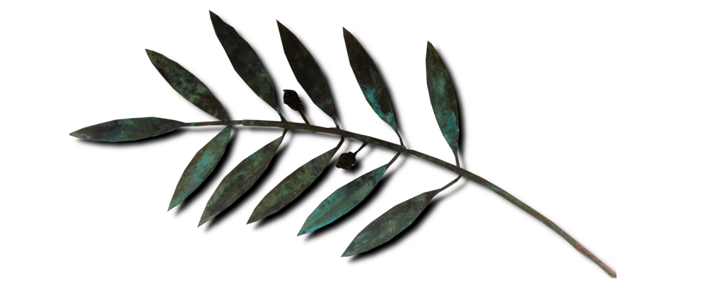Small Olive Branches  Sue Willis, copper wall sculpture, 400 mm long approx.  sold