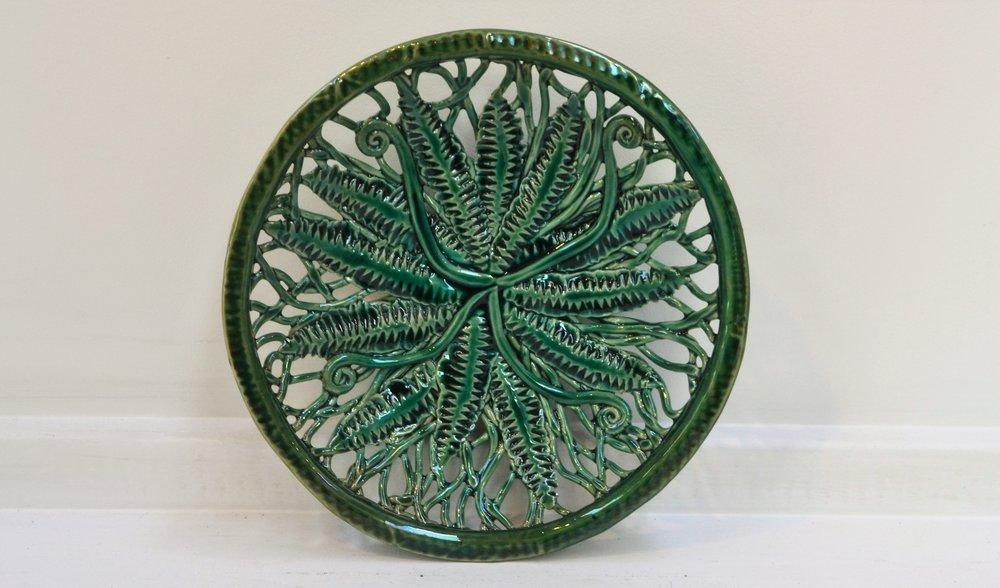 Fern Platter (medium)  Tom Sommerville, glazed and fired ceramic  $230.00